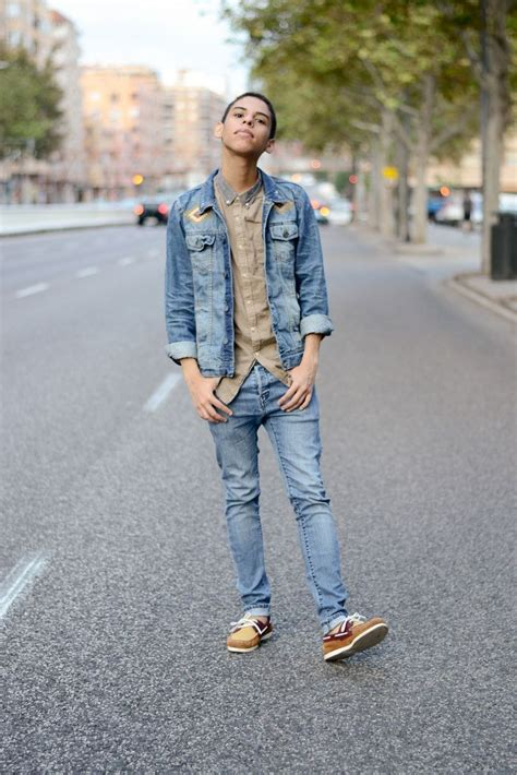 boat shoes and jeans men s blue denim jacket tan long sleeve shirt blue