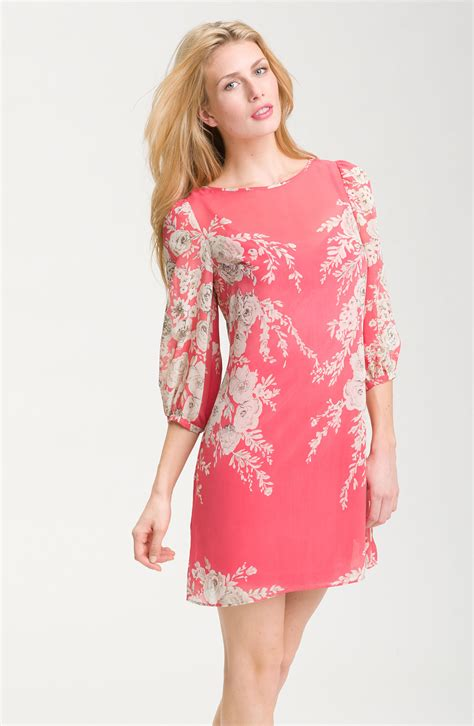 Dress Pink Floral papell pink floral chiffon dress lyst