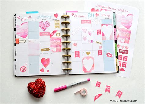 printable stickers office max february watercolor valentine free printable planner