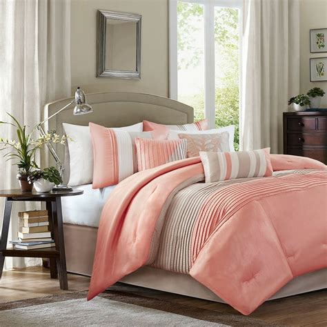 elegant lovely coral taupe comforter 7 pc set cal king