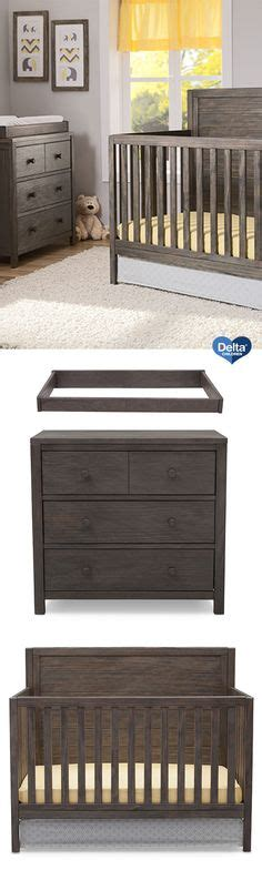 delta cambridge rustic grey dresser serta northbrook 2 piece nursery set crib and double