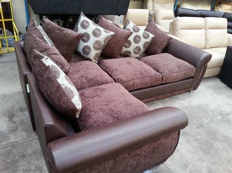 large shannon leather fabric corner sofa suite