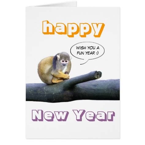 happy new year monkey wishes happy new year squirrel monkey greetingcard stationery