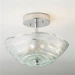 rippled recycled glass ceiling light flush mount ceiling
