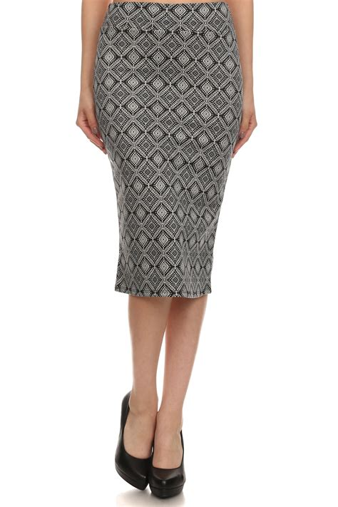 print below knee pencil skirt
