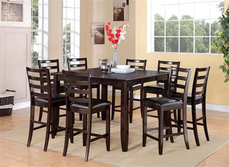 Square Dining Room Table With 8 Chairs 9pc Square Counter Height Dining Room Table 54 Quot X54 Quot And 8 Faux Leather Chairs Ebay