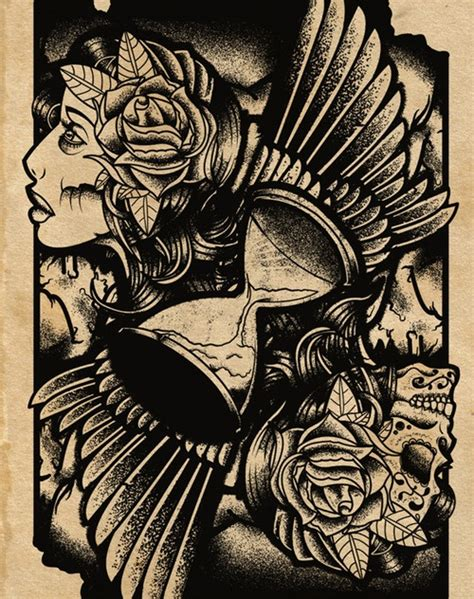 hourglass skull tattoo designs hourglass wings sugar skull day of the dead