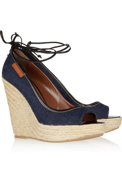 shoeniverse sergio blue denim wedge sandals on sale