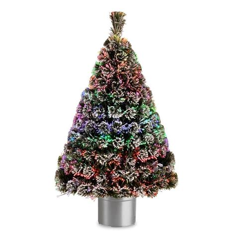 fiber optic artificial christmas trees lowes national tree company 48 in pre lit fiber optic evergreen flocked artificial tree at