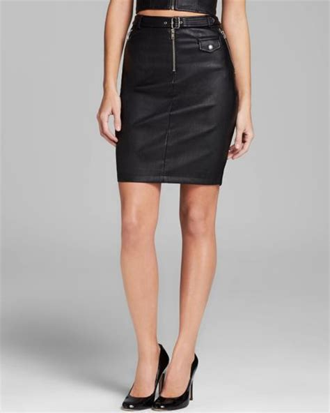 guess skirt high waist faux leather moto in black jet