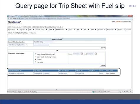 Trip Generation Spreadsheet by Webxpress Fms Fuel Slip Management