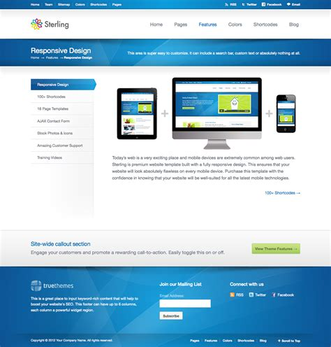 html responsive template sterling html5 responsive web template by truethemes