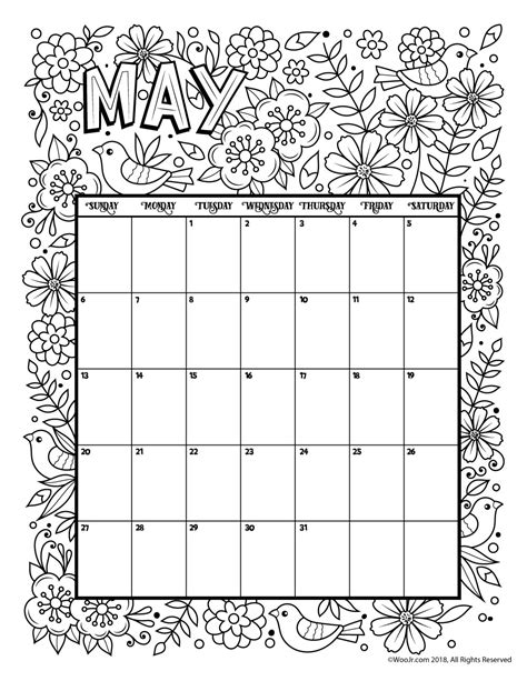 printable calendar 2018 to color may 2018 coloring calendar page woo jr kids activities