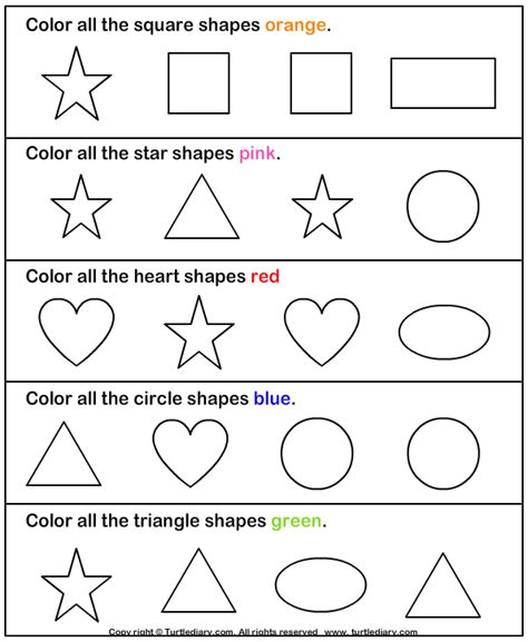 free printable identifying shapes worksheets color the shape 2 worksheet turtlediary com