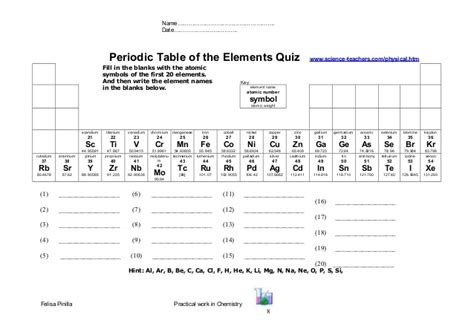 Blank Periodic Table Quiz by Topic 2 Mixtures Activities