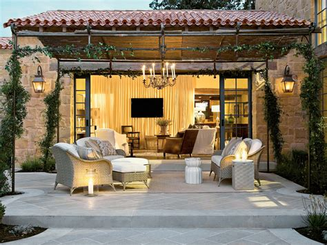 homes with outdoor living spaces outdoor living spaces with water feature and greens