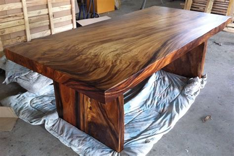 Solid Wood Kitchen Table Live Edge Dining Table Reclaimed Solid Slab Acacia Wood