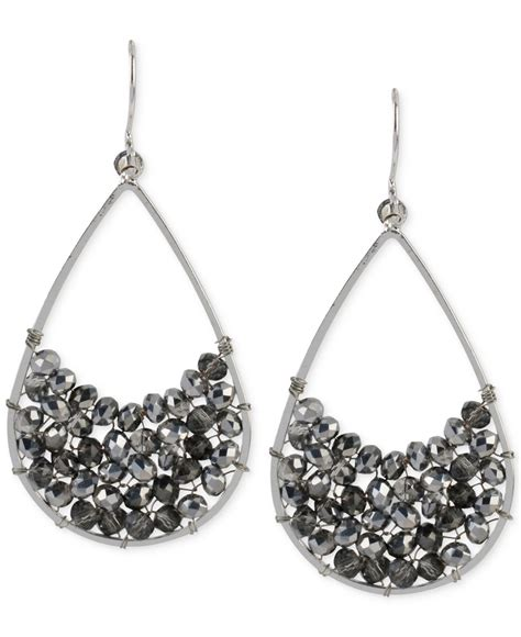 Favorite Cole Black Silver kenneth cole silver tone woven black bead teardrop earrings in black lyst