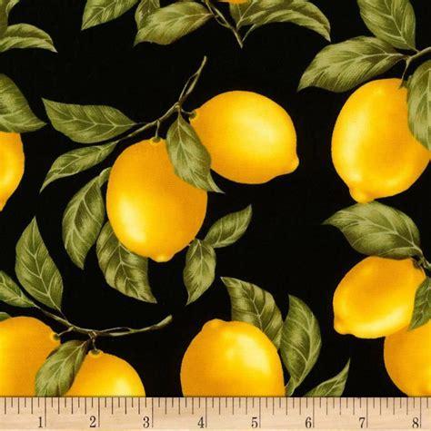 Timeless Treasures Tossed Lemons Black   Timeless