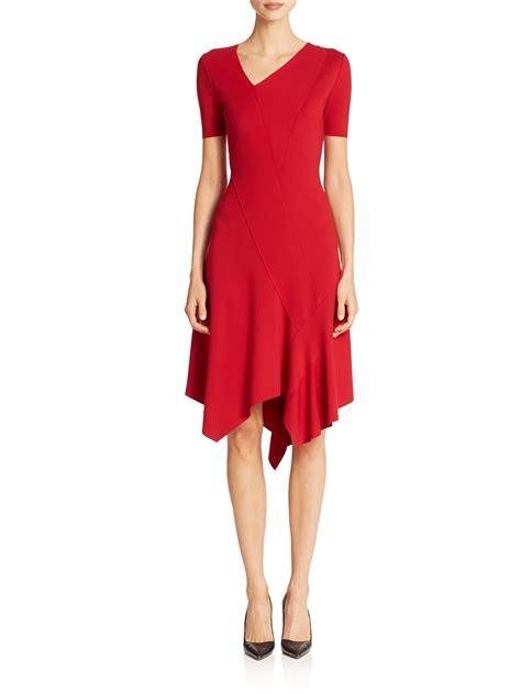 Sweater U Merah Jidnie Clothing elie tahari dariah asymmetrical dress in poppy lyst