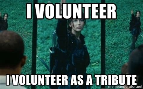 I Volunteer As Tribute Meme - i volunteer i volunteer as a tribute hunger games sign