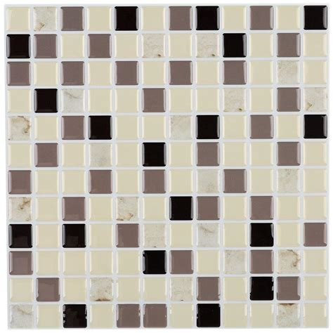peel and stick wallpaper tiles instant mosaic 12 in x 12 in peel and stick mosaic decorative wall tile in shades of brown and