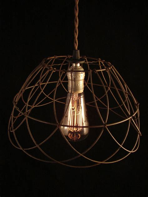Wire Basket Chandelier Upcycled Wire Basket Edison Pendant Wire Baskets Design And Etsy Shop