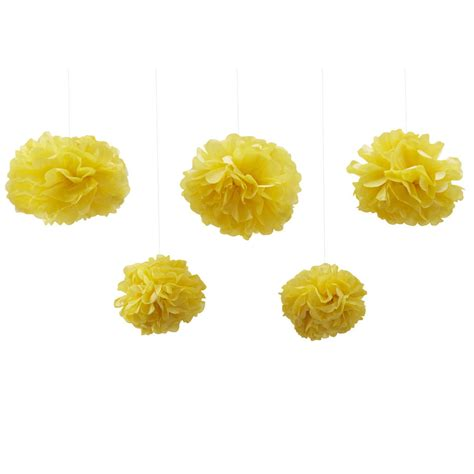 Pom Poms With Tissue Paper - pack of five yellow tissue paper pom poms by