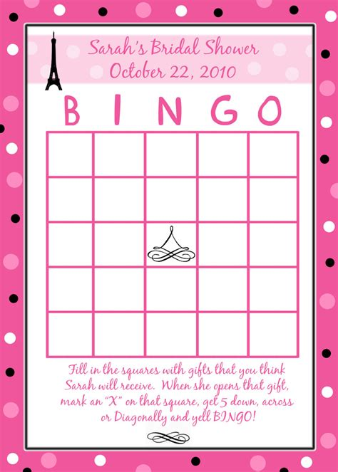 bridal shower bingo template 24 personalized bridal shower bingo cards style