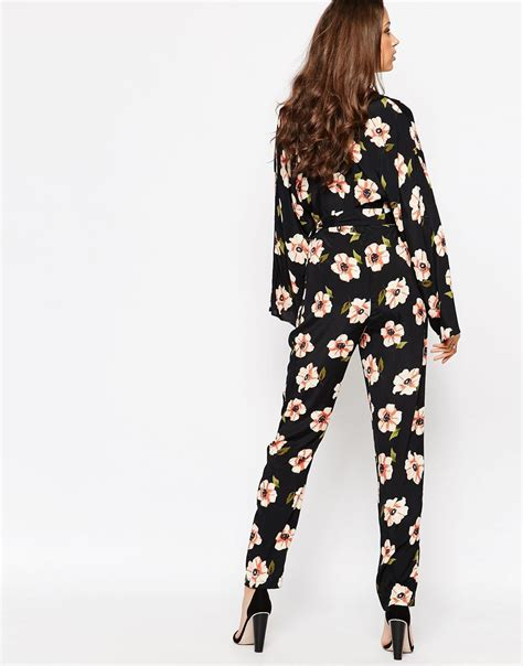 Sleeve Floral Jumpsuit asos kimono sleeve jumpsuit in floral print in pink lyst