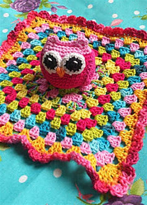 Crochet Owl Pattern Blanket by Owl Lovey Blanket For Babies Free Crochet