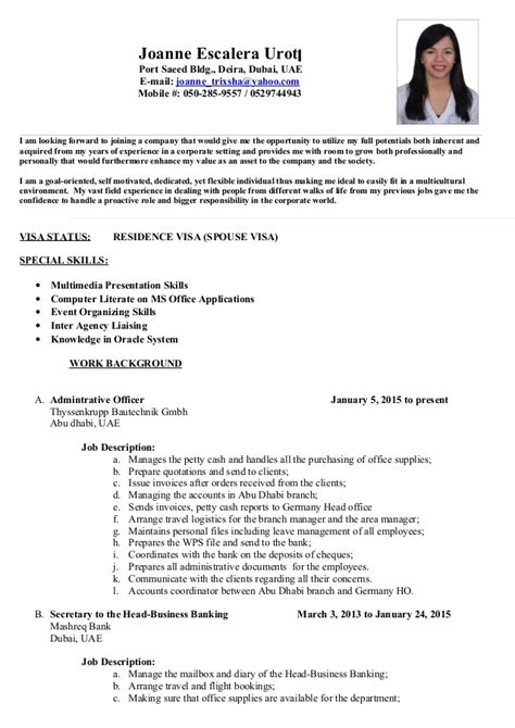 Sample Resume Format Dubai by Joanne Escalera Cv