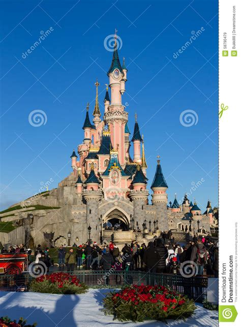 disneyland castle with decorations editorial stock image image of friends