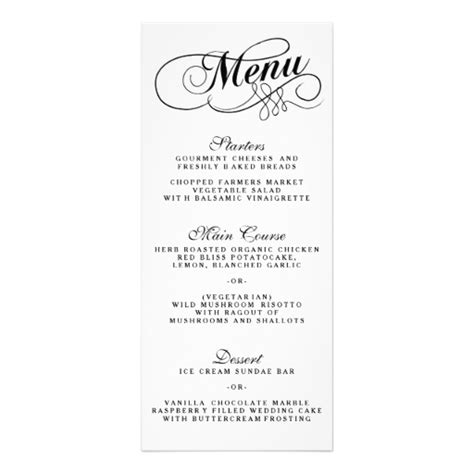 elegant black and white wedding menu templates rack card