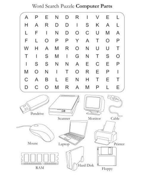 Word Part Worksheets by Word Search Puzzle Computer Parts Free Word