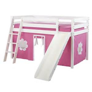 Twin loft bed with slide and hot pink white curtain loft beds