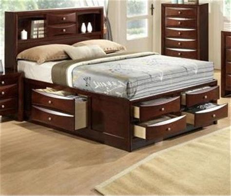 details  emily collection bookcase headboard queen king captains storage bed   drawers