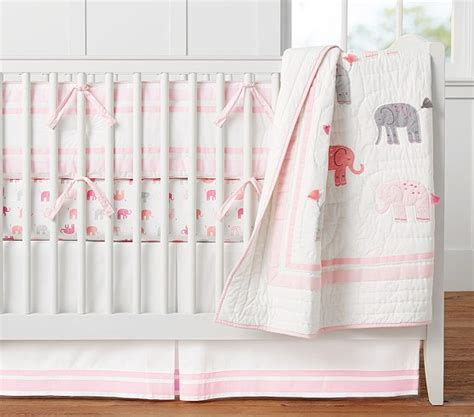 girl elephant crib bedding harper elephant nursery bedding pottery barn kids