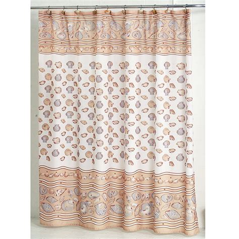 sea shell shower curtain south beach seashell fabric shower curtain bedbathhome com