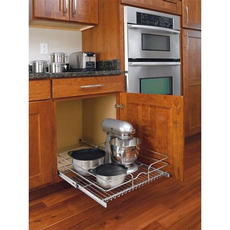 kitchen cabinet shelf organizers pull out wire basket base cabinet chrome kitchen storage