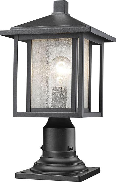 outside post light fixtures z lite 554phm 533pm bk aspen black exterior l post