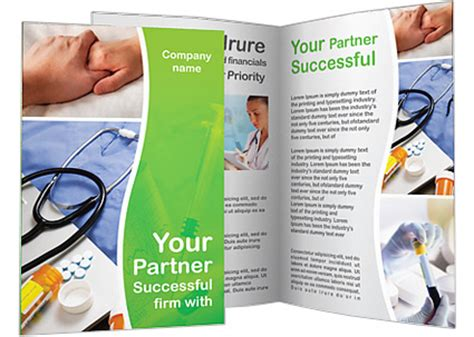 stethoscope and medication brochure template design id