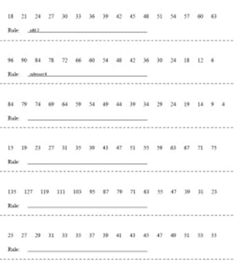 number pattern and rule worksheet sequences and number pattern puzzles edhelper com