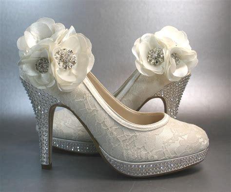 wedding shoes ivory platform heels with by designyourpedestal