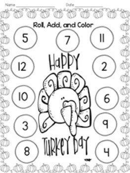 add color thanksgiving roll add color by kindergarten