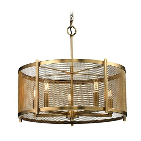 Metal Drum Chandelier Metal Drum Pendant Light In Aged Brass Finish 31483 5 Destination Lighting
