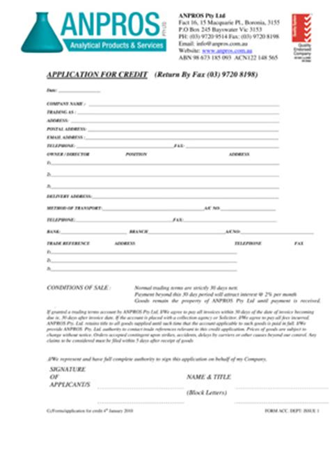 Business Credit Application Form Australia Application For Credit Account Anpros Pty Ltd