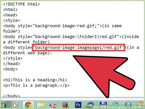 how to put a background image in html how to add a background to a website 14 steps with pictures