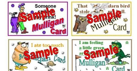 Mulligan Card Template by Mulligan Golf Cards Excuses 1 Golf Tournament