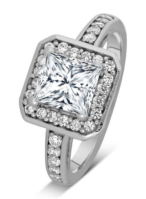 1 carat princess cut halo engagement ring 14k